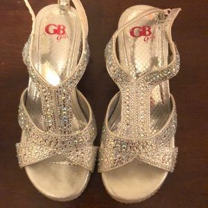 Girls sparkle wedge shoes